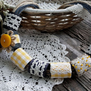 OOAK set textile jewelry with soft cotton fabric beaded,handmade beaded,necklace,earring cotton for women fiber natural,large & small brooch