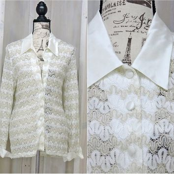 White lace blouse / size M / crocheted lace top / white / gold sheer shirt /  Marshall-Rousso Las Vegas