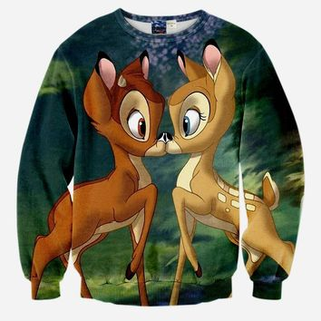 Autumn spring Women/Men's 3d Sweatshirt Cotton lovers deer kiss hoody Funny Tops