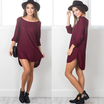 Scoop Loose Solid Long Sleeve Irregular Dress