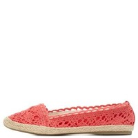 Coral Crocheted Espadrille Skimmer Flats by Charlotte Russe