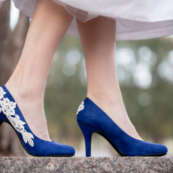 Blue Wedding Shoes, Cobalt Bridal Heels, Blue Heels, Low Heels, Wedding Heels, Something Blue, Pumps,Bridal Shoes with Ivory Lace. US Size 9