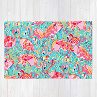 Bright Flamingos Rug by Uramarinka