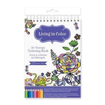 Living In Color  Art Therapy Coloring Book 100 Designs (A5) 5.7in x 8.6in, a creative outlet for hours of fun and calming mindfulness, Azteca Designs