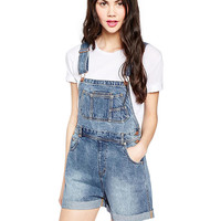 Blue Roll Up Hem Overall Denim Shorts
