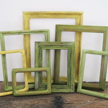 Rustic Frame Set Of 7 Open/Empty Tropical Beach Decor