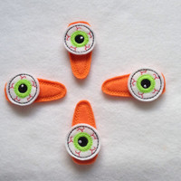 Spooky Green Eyeball Bloodshot Halloween Felt Snap Clip Barrettes