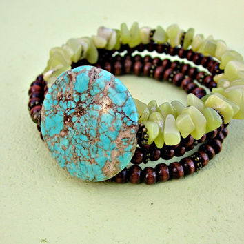 Beaded Dark Wood and Olive Jade Adjustable Memory Wire Cuff Bracelet with Turquoise Focal Bead: Burma