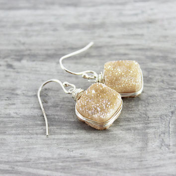 Druzy Quartz Earrings, Dark Peach Earrings, Sterling Silver Earrings, Wire Wrap Earrings, Champagne Druzy Earrings, Druzy Gemstone Earrings