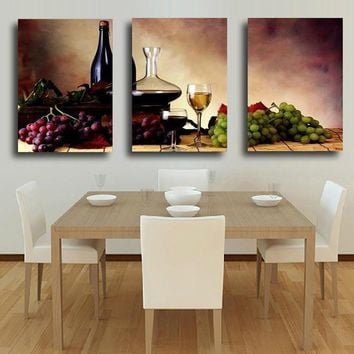3 Panel Reto Wine Grape Fruit Of The Land Of Israel Vintage Canvas Art Piece