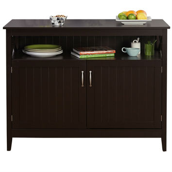 Espresso Wood Dining Buffet Table Storage Cabinet