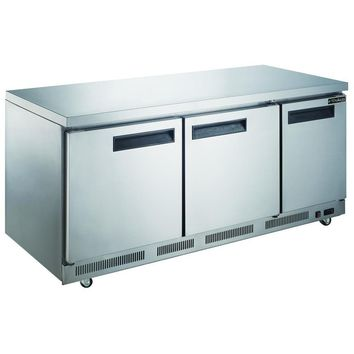 Commercial Kitchen Single Door Stainless Steel Undercounter Refrigerator 72""
