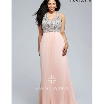 Preorder - Faviana 9388 Soft Peach Pink Sexy V-Neck Long Dress 2016 Prom Dresses