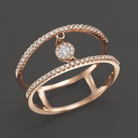 Diamond Double Row Ring with Cluster Center in 14K Rose Gold, .20 ct. t.w.