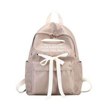 School Backpack Miyahouse Casual Ribbon Design  Women Solid Color Canvas School Bag For Teenage Girls Travel Rucksack Lady AT_48_3
