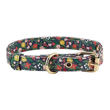 Faux Saffiano Floral Dog Leash