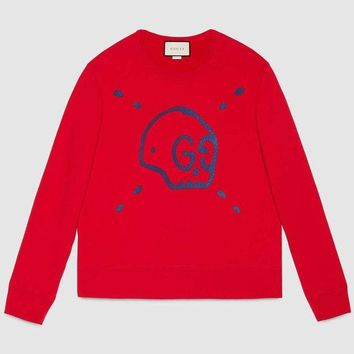 DCCKN6V Gucci Fashion Trending  Men Pullover Hoodie Long Sleeve Sweater Red G-KWKWM
