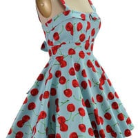 fold over bust sun dress - aqua cherry print | le bomb shop