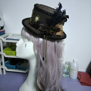 Retro Brown Luxury Flower & Feather Sweet Bow Mini Top Hat Punk Steampunk Lolita Cosplay Hat Fedoras Hat