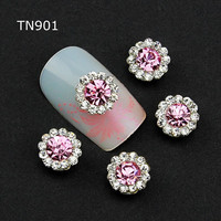 10pcs Pink Alloy Glitter 3d Nail Art Decorations with Rhinestones ,Alloy Nail Charms,Jewelry on Nails Salon Supplies TN901