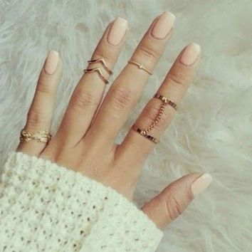 ac spbest new 6pcs Stacking  Finger Knuckle rings Charm Ring Set