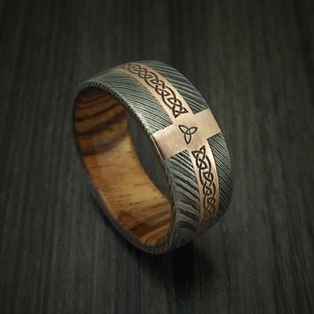Mens' Custom Made Celtic 14K Rose Gold Grey Steel Wedding Band