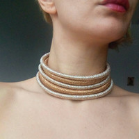Golden Choker Tribal Necklace Tribal Statement Necklace Rope Choker African Necklace Aztec Necklace Tribal Necklace for Her African Jewelry