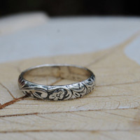 Sterling Silver Wedding Band - Scroll and Floral - Your Size