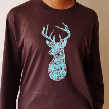 Floral Stag Silhouette Long Sleeve T-Shirt. Turquoise Floral Deer Shirt. Deer Antler Shirt.