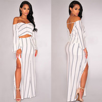 White Off Shoulder Striped Slit Maxi Dress