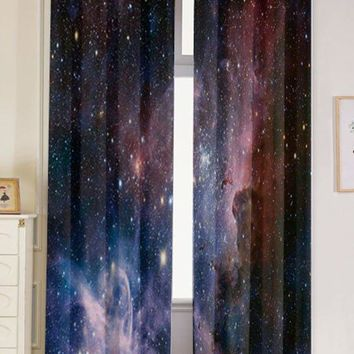 2 Pcs Universe Space Blackout Window Curtains