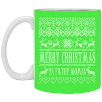 Ugly Christmas Sweater Home Alone Merry Christmas Ya Filthy Animal XP8434 11 oz. White Mug