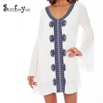 Embroidery Cotton Beach Tunic Cover-up Swimsuit cover up Beachwear Beach cover ups Beach Women Sexy Beach Dress