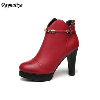Women Fashion Top Quality Boots Hot Sale Autumn New Arrival Ankle Boots Square Heel Simple Sheepskin Boots Shoes LSN-A0048