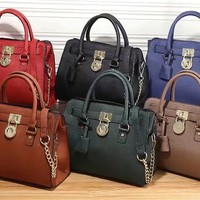 """Michael Kors"" Fashion Simple Single Shoulder Messenger Bag Women MK Padlock Temperament Handbag"