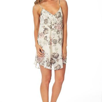 Ivory Floral Printed Cross Back Dress/Tunic