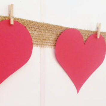 Heart garland, valentine decor, burlap garland, feb 14 decor, valentine banner, custom banner, classroom decor, red hearts, table decor
