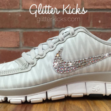 Nike Free Run 5.0+ V4 Blinged Glitter Kicks Running Shoes - Hand Customized With Swarovski Elements Crystal Rhinestones - Gray White Silver