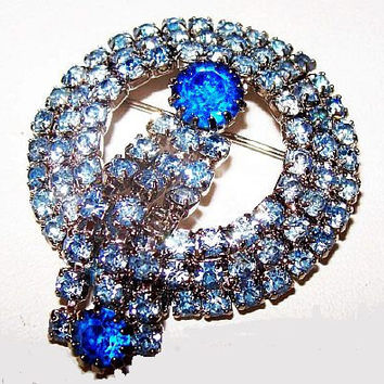 """Blue Rhinestone Brooch Pin Sapphire & Baby Blue Color Dangle Style Silver Metal 2"""" Vintage"""