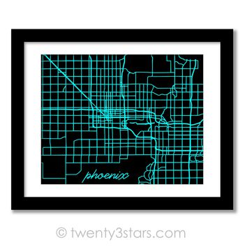 Phoenix, Arizona Street Map Wall Art - Choose Any Colors - twenty3stars