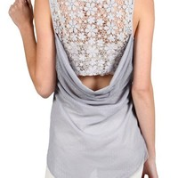 Back Lace Panel Tank Top