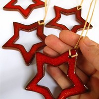 Bored Red Star For Christmas Decoration Ornaments Gift Tag