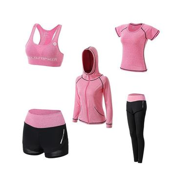 5 Pieces Women's Gym Workout  Sportswear Sets