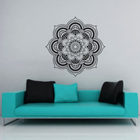 Wall Decal Vinyl Sticker Decals Art Home Decor Mural Mandala Ornament Indian Geometric Moroccan Pattern Yoga Namaste Lotus Flower Om AN556
