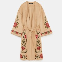 FAUX SUEDE COAT WITH FLORAL EMBROIDERY DETAILS