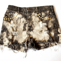 Vintage Lee High Waist Black Studded Bleached and Distressed Denim Cut Off Shorts