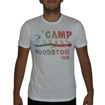 Peanuts Snoopy's Camp With Woodstock 1966 Graphic Men's Casual T-shirt, White