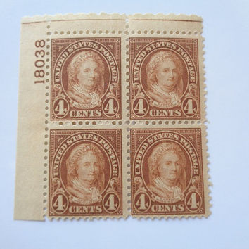1927 Martha Washington First Lady US Stamp Plate Block Unused Mint Hinged Scott # 636 Add to your Collection American Stamps Postal History