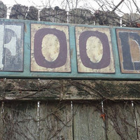 """Large 3-ft Rustic FOOD SIGN Salvaged Distressed Wood Metal Letters 11-1/4""""x34"""" Antiqued Home Business Wall WEDDING Decor Shabby Chic Gift"""