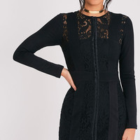 Issie Black Long Sleeve Lace Panel Bodycon Dress